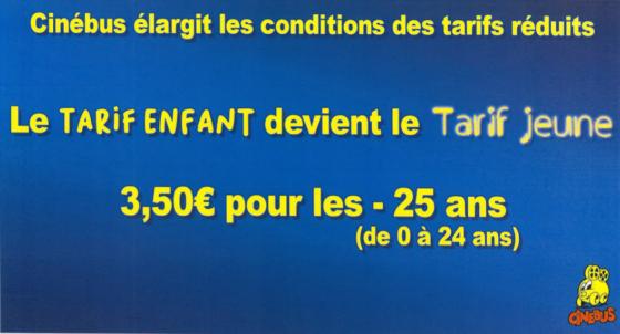 Cinébus changement tarifs
